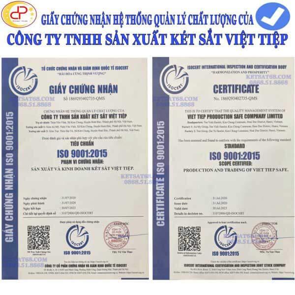giấy chứng nhận hệ thống quản lý chất lượng của két sắt việt tiệp